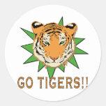 Go Tigers Round Sticker