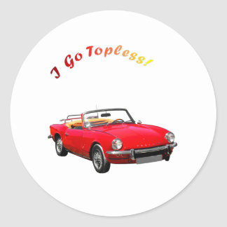Go Topless Round Sticker
