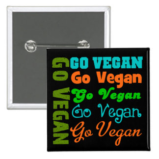 Go VEGAN 15 Cm Square Badge