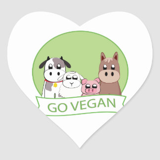 Go Vegan Heart Sticker