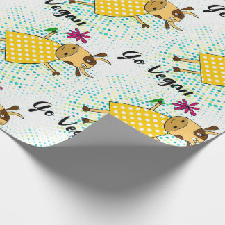 """Go vegan"" sign with cute doodle cow and flowers Wrapping Paper"