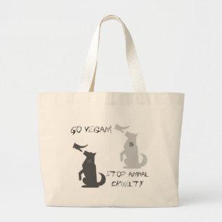 Go Vegan...Stop Animal Cruelty! Large Tote Bag