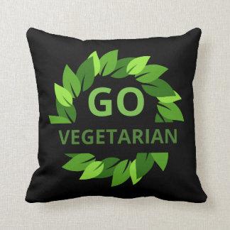 Go Vegetarian, Vegan, Veganism Green Leaves Black Cushion