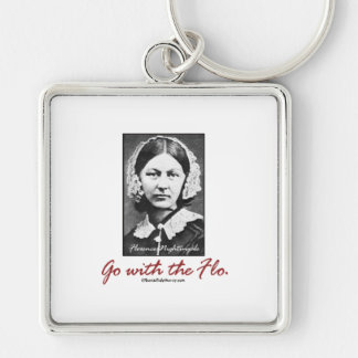 Go with Florence Nightingale Silver-Colored Square Key Ring