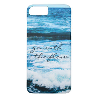 """""""Go with Flow"""" Quote Hawaii Blue Ocean Waves Photo iPhone 8 Plus/7 Plus Case"""