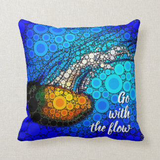 """Go with the Flow"" Fun, Ocean Jellyfish Circle Art Cushion"