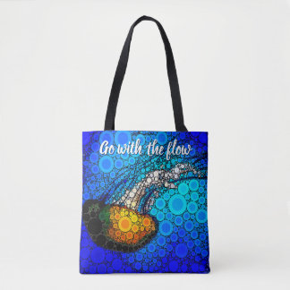 """Go with the Flow"" Fun, Ocean Jellyfish Circle Art Tote Bag"