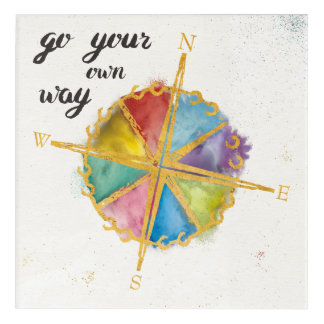 Go Your Own Way Quote With Colored Compass Acrylic Wall Art