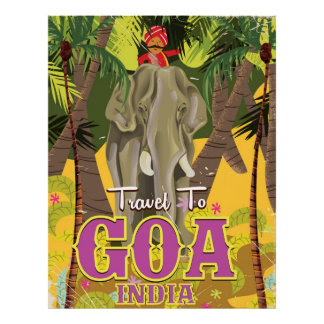 Goa India vintage travel poster