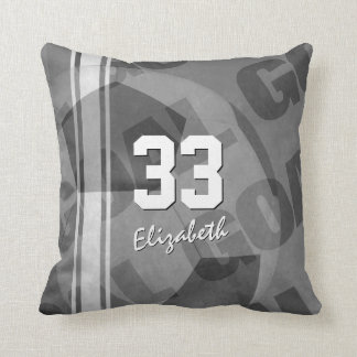 Goal black gray white personalized women's soccer cushion