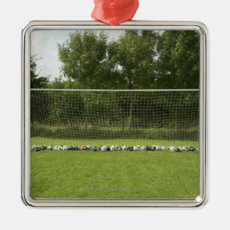 Goal Full of Balls Silver-Colored Square Decoration