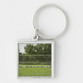 Goal Full of Balls Silver-Colored Square Key Ring