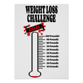 Goal Thermometer 100 Pound Weight Loss Goal Poster