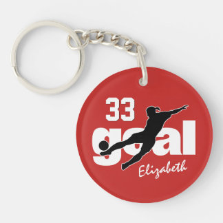 goal women's soccer any color duffel tag key ring