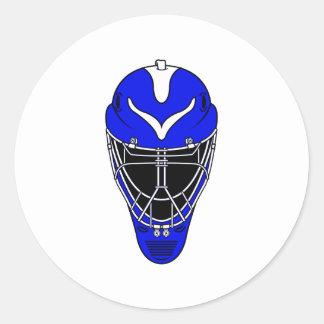 Goalie Helmet Blue Round Sticker