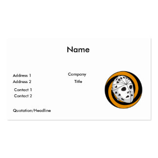 goalie hockey mask orange black business card template