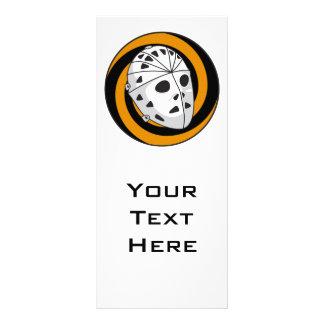 goalie hockey mask orange black rack card design