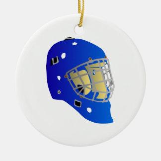 Goalie Mask Round Ceramic Decoration
