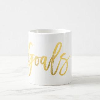 GOALS Gold Foil Modern Script Trendy Custom Coffee Mug