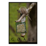 GOALS Inspirational Funny Squirrel Poster Print