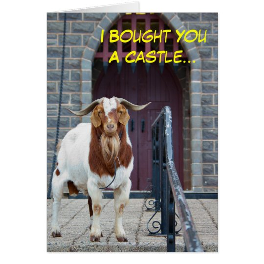 Goat and Castle Birthday Card