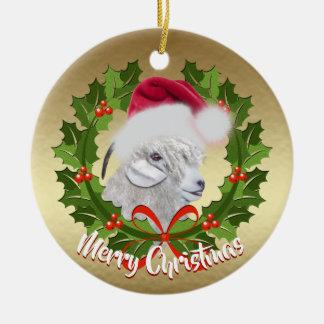 GOAT Angora Goat Doe Santa Hat Christmas Christmas Ornament