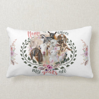GOAT ART | Home is Where My Goats Are GetYerGoat Lumbar Cushion