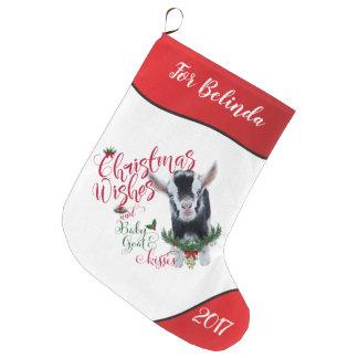 GOAT | Christmas Wishes Baby Goat Kisses Pygmy Large Christmas Stocking