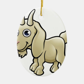 Goat Farm Animals Cartoon Character Ceramic Oval Decoration