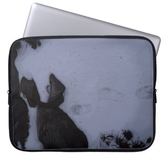 Goat Fell Snow Footprints Neoprene Laptop Sleeve