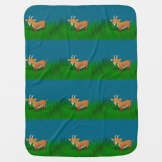 Goat in long grass baby blanket