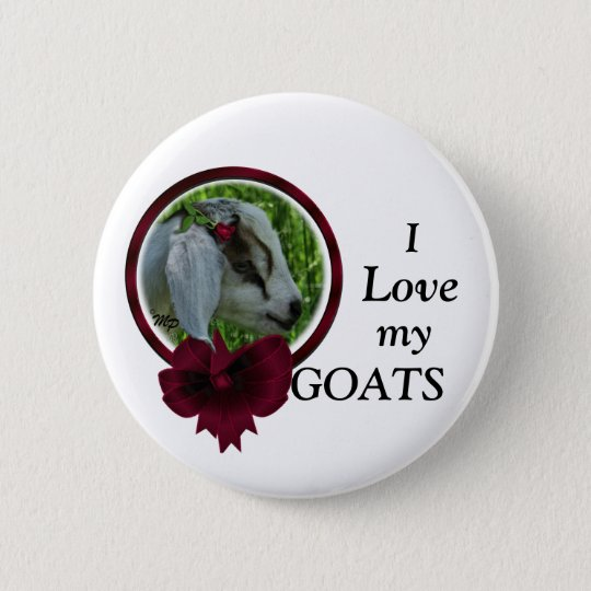 Goat Kid & bow- personalise 6 Cm Round Badge