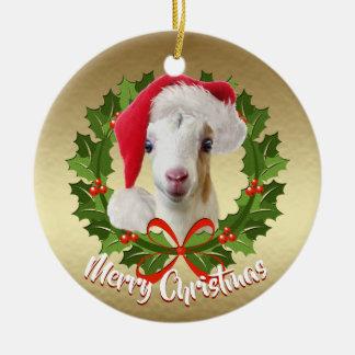 GOAT LaMancha Kid Santa Hat Christmas Ornament