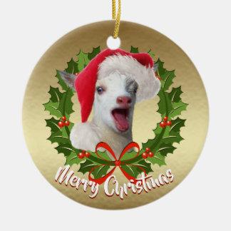 GOAT Nigerian Dwarf  Kid Santa Hat Christmas Christmas Ornament