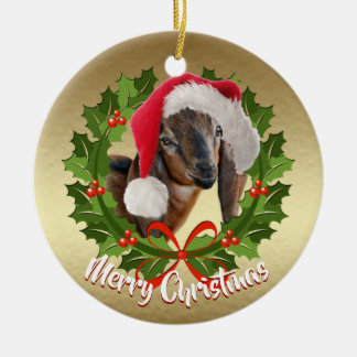GOAT Nubian Doe Kid Santa Hat Christmas Ornament