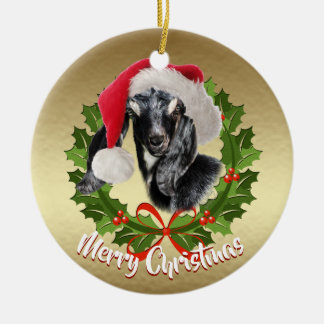 GOAT Nubian Kid Santa Hat Christmas Ornament