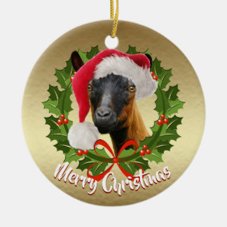 GOAT Oberhasli Dairy Goat Doe  Santa Hat Christmas Christmas Ornament