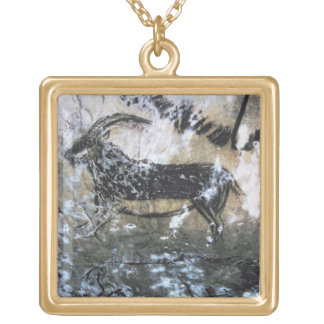 Goat or Chamois, rock painting in the Black Room, Gold Plated Necklace