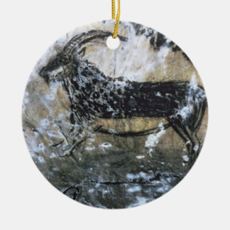 Goat or Chamois, rock painting in the Black Room, Round Ceramic Decoration
