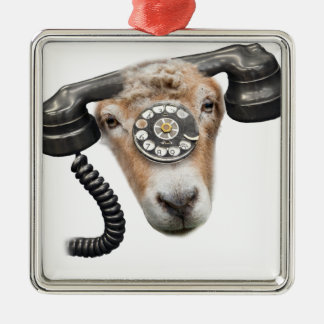 Goat Phone Call Head Silver-Colored Square Decoration