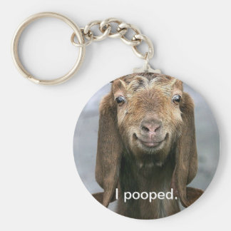 Goat pooping key chain