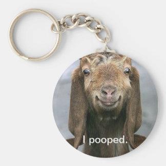 Goat pooping basic round button key ring