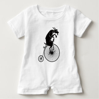 Goat Riding a Penny Farthing Bike Baby Bodysuit