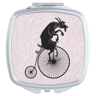 Goat Riding a Penny Farthing Bike Mirror For Makeup