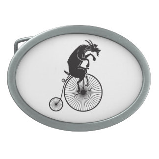 Goat Riding a Vintage Penny Farthing Bike Belt Buckles
