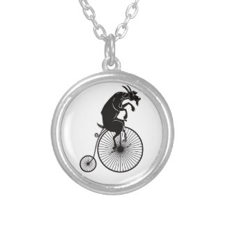 Goat Riding a Vintage Penny Farthing Bike Silver Plated Necklace