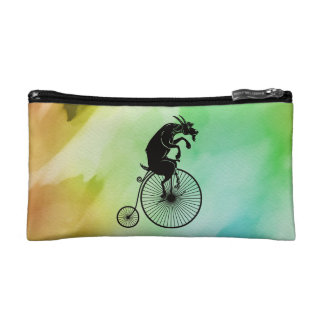 Goat Riding Bike Watercolor Cosmetic Bag