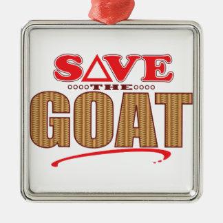 Goat Save Silver-Colored Square Decoration