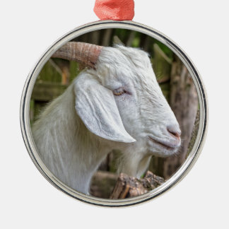 Goat Sees Greener Grass Silver-Colored Round Decoration