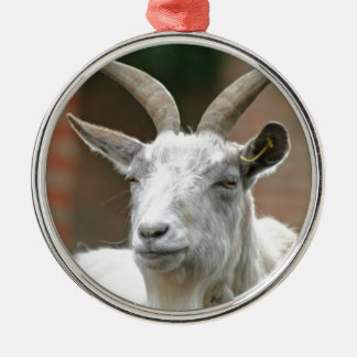 Goat Silver-Colored Round Decoration